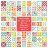 Vector set of different retro seamless patterns in color — Stock Vector