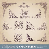 Calligraphic corners and decorative elements — Cтоковый вектор