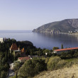 Постер, плакат: View from the cliff at Cape village of Plaka the castle of Princess Gagarin and south eastern part of the Ayu Dag Bear Mountain Crimea Ukraine