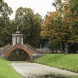 Cross the bridge in Alexander Park. Tsarskoye Selo. Russia — Stock Photo