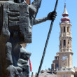 Zaragoza. sculpture in the Plaza del Pilar. — Stock Photo