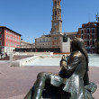 Maha sculpture on the square Pilar. Zaragoza. Spain. — Stock Photo
