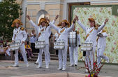 Pavlovsk. Russia. Show drummers Drum time. — Stock Photo