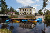 Kobona. Leningrad region. Russia. The building of the former guardhouse Ladoga channel battalion. — Stock Photo