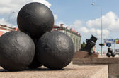 Mortars with nuclei at Arsenal Embankment. St. Petersburg. — Stock Photo