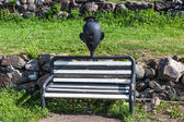 Priosersk. Russia. Bench in the courtyard of the fortress Korella. — Stock Photo