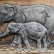 Stucco of elephant family — Stock Photo