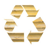 Recycle symbol with bamboo background — Stock Photo