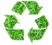 Recycle symbol with grass texture — Stock Photo