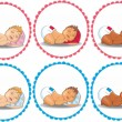 Sleeping babies boy and girl — Stock Vector