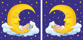 Baby sleeping on the moon — Stock Vector