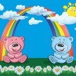 Bears on the background of the rainbow — Stock Vector