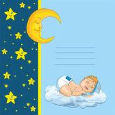 Scheda di bambino doccia con poco sonno del ragazzo bambino — Vettoriale Stock