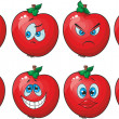 Stock Vector: Emotion cartoon red tomato vegetables set