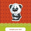 Vector cartoon panda card — Stock Vector