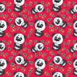 Vector cartoon panda seamless pattern — Stock Vector