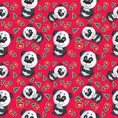 Vector cartoon panda seamless pattern — Stock Vector