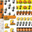 Set of backgrounds and borders for Halloween. vector — Stock Vector