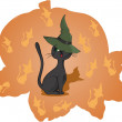 Cat in a pumpkin. Halloween. vector. — Stock Vector
