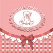 Baby card with a painted teddy bear for girls — Stock Vector