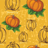 Pumpkin pattern on a yellow background — Stock Vector