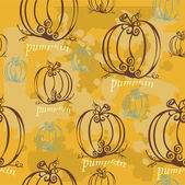 Pumpkin pattern in retro style — Vecteur