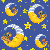 Pattern with moon and teddy — Stock Vector