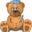 Sick teddy bear — Stock Vector