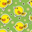 Stock Vector: Pattern with cute bird