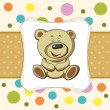 Baby card with funny teddy bear — Stock Vector