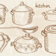 Sketch with cooking pots — Imagen vectorial