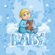 Baby card with a boy in overalls — Image vectorielle