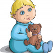 Little boy with a teddy bear in hand — Imagen vectorial