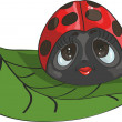 Ladybug on a leaf — Vector de stock #34637843
