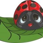 Ladybug on a leaf — Stock Vector