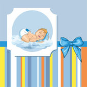 Baby card with a sleeping baby — Stock Vector