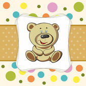 Baby card with funny teddy bear — Stok Vektör