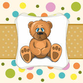 Baby card with teddy bear in peas — Stock Vector