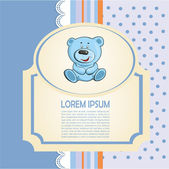 Baby card with teddy bear with lace and — Vector de stock