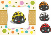 Baby card with a set of colored ladybugs — Vector de stock