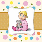 Baby card with a little girl and a bear — Stock Vector
