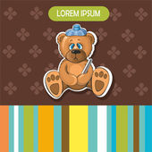 Baby-Karte mit einem Kranken Bären — Stockvektor
