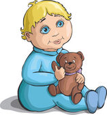 Little boy with a teddy bear in hand — Stock Vector