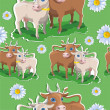 Pattern with daisies and cows — Stock Vector #34642079