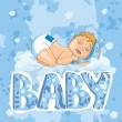Sleeping newborn baby boy — Stock Vector