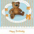 Baby card with teddy bear and lace — Stock Vector