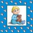 Baby card with baby and teddy bear — Grafika wektorowa
