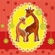 Baby card with giraffes on an orange background — Stock Vector