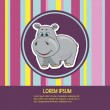 Baby card with hippo — Stock Vector