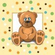 Baby card with teddy bear and mugs — Imagen vectorial
